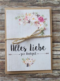 Romantisch verspielte Glückwunschkarte zur Hochzeit. Format: A6 Klappkarte Inkl. Kuvert aus Kraftpapier & Kordel