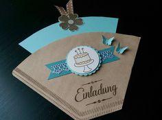 **Originelle Einladung zum Kaffee aus einer Filtertüten, hochwertigem Karten- und Designerpapier. ** **Farben:** Lagunenblau, Flüsterweiß, Aquamarin, Wildleder   _Bitte beachten: die Farben...