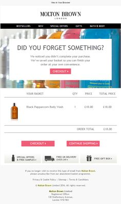 Molton Brown Cart Abandonment Email #EmailMarketing #Email #Marketing #Beauty…