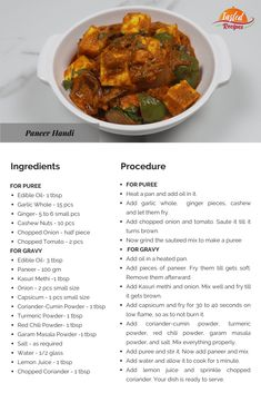 Paneer Handi is a delicious rich gravy recipe of India. The recipe is made with the puree of cashew nuts, onions and tomatoes as a base. Paneer Masala Recipe, Paneer Recipes, Veg Recipes, Kitchen Recipes, Indian Food Recipes, Cooking Recipes, Curry Recipes, Cooking Tips, Easy Recipes