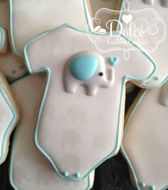 Elephant Onesie Baby Shower Cookies - 1 Dozen Pcs) by Dolce Custom Cookies on Gourmly Onesie Cookies, Baby Cookies, Baby Shower Cookies, No Bake Sugar Cookies, Iced Cookies, Boy Baby Shower Themes, Baby Boy Shower, Elephant Cookies, Elephant Baby Showers