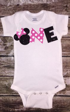 First Birthday Onesie Baby Girl Minnie Mouse Smash by ALGDezigns