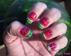 How to create a Watermelon Nail Design in 7 EASY steps by The Party Animal   http://wizzley.com/how-to-create-a-watermelon-nail-design/