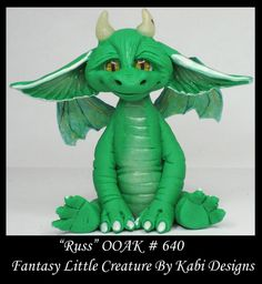 Fantasy Little Dragon DollHouse Art Doll Polymer Clay CDHM OOAK IADR Russ Mini #KabiDesigns