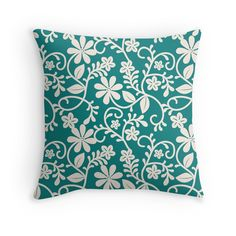 'Floral Teal Pattern' Throw Pillow by Teal Throw Pillows, Decorative Throw Pillows, Pattern Design, Room Decor, Decoration, Floral, Decor, Accent Pillows, Flowers