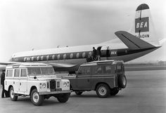 land rover and airplane picture, black & white with white frame.  Series?