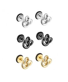 1-3 Pairs Silver Black Gold Tone Stainless Steel Twist Love Knot Post Stud  Earrings For Men Women CK187A8M7MZ 824939750e08