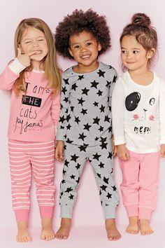 12 months - 8 years - Next UK Three Pack Cat Snuggle Pyjamas 8be19eb724e3