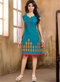 Teal Embroidery Work and Lace Work Cotton  Fancy Tunic