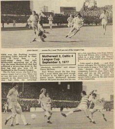 Motherwell 2 Celtic 4 (2-4 agg) in Sept 1977 at Fir Park. Action from the Scottish League Cup 2nd Round, 2nd Leg.