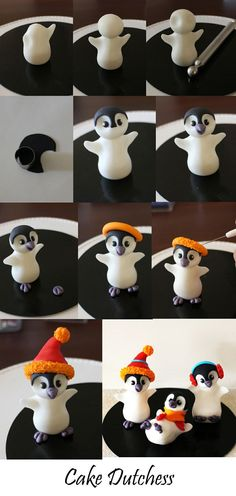 Clay / fondant: Edible penguin step by step from Naera on deviantART - . Clay / fondant: Edible penguin step by step from Naera to deviantART Crea Fimo, Fimo Clay, Polymer Clay Projects, Polymer Clay Christmas, Polymer Clay Ornaments, Polymer Clay Animals, Polymer Clay Figures, Fondant Tutorial, Fondant Animals Tutorial