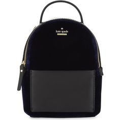 Kate Spade New York Watson Lane mini velvet backpack (820 PEN) ❤ liked on Polyvore featuring bags, backpacks, day pack backpack, zip handle bags, zip bag, handle bag and day pack rucksack