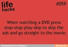How to skip through previews on DVD's.