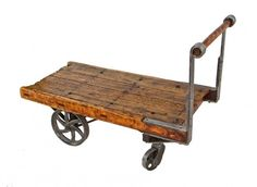 original late 19th century lightly refinished american antique industrial towsley oak wood burhop factory furniture cart with durable cast iron casters