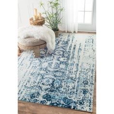nuLOOM Distressed Vintage Faded Persian Blue Rug (7'6 x 9'6) - Free Shipping Today - Overstock.com - 18406736 - Mobile