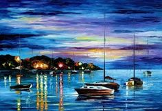 Mystery Of The Night by Leonid Afremov by Leonidafremov on DeviantArt Long Painting, Oil Painting On Canvas, Knife Painting, Marc Chagall, Renoir, Monet, Joan Miro Paintings, Oil Paintings, Fine Art Amerika