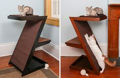 "I can't believe how many terrific new products are coming from The Refined Feline, and this one might be my favorite! It's the new Zen Cat Scratcher & Perch, another multi-functional and attractive piece of feline design. This piece offers a generous sisal scratching surface and a padded perch on top. Measuring 38.5"" tall, the…"