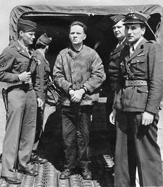 Nuremberg Trials. Former commandant of the concentration camp Auschwitz, Rudolf Höss, at the airport in Nuremberg Germany. Photograph 1946.