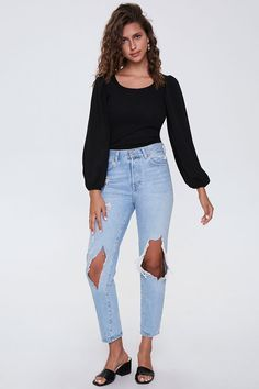Forever 21 Top Affordable Tops reasonablyrebecca Affordable Clothes, Peasant Tops, Black Media, Latest Trends, Mom Jeans, Fitness Models, Scoop Neck, Forever 21, How To Wear