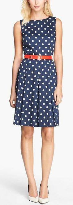 Tahari Belted Polka Dot Fit & Flare Dress