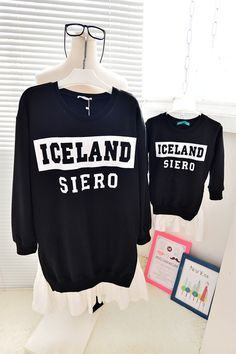 QZZ138 New Autumn print letter 1 6Y family matching dresses clothes mother daughter dresses long sleeve sweatshirts dresses