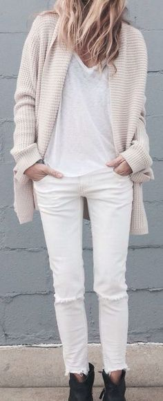 White tank, white jeans, cream cardian, black shoes More