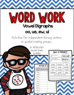 Enjoy the 14 center activities to use with the vowel digraphs oo, ue, ew, and ui! Activities can be used in guided reading groups or for independent center work. There are two sets of words to use for differentiation.