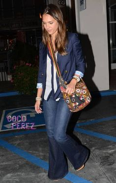 "She puts the ""style"" in ""street style!""  with her cute crossbody handbag After stepping off a plane at LAX on Wednesday, Jessica Alba jetted over to West Hollywood to grab some sushi...."
