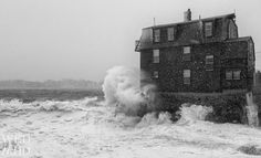 Day 2 - The Old House and The Sea - black and white of waves crashing against house along Marblehead harbor