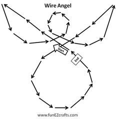 Easy Angel Crafts - Wire Angel - how to diagram - Now I'm not much for working with wires and pliers, but I think I could do something with this diagram and chenille stem or some other materials...