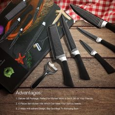 Kcasa KC-3Cr13 6 Pieces 3Cr13 Stainless Steel Kitchen Knife Set Chef Carving Cleaver Utility Knife