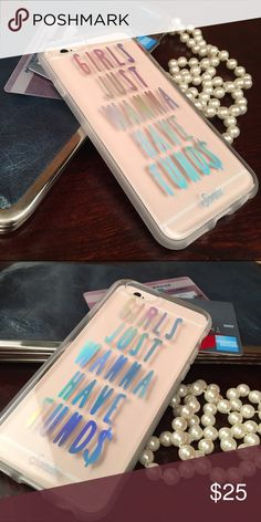 Girls Just Wanna Have Funds iPhone case! Iridescent and absolutely fabulous! Protect your phone in style! For 6, 6s, 6 Plus and 6s Plus Accessories Phone Cases