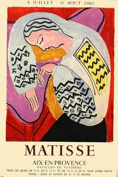 Vintage Poster Reprint of a 1960 Vintage French exhibition Poster for works by Matisse - Henri Matisse, Matisse Art, Matisse Pinturas, Vintage French Posters, Vintage Pop Art, Vintage Art Prints, Matisse Paintings, Art Exhibition Posters, Exhibition Display