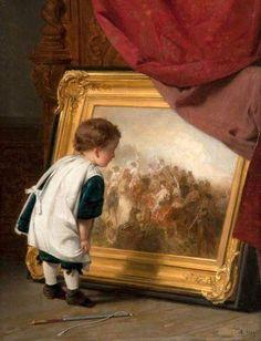 August Friedrich Siegert (1820 - 1883, German), The Young Connoisseur, I AM A CHILD-children in art history-blog