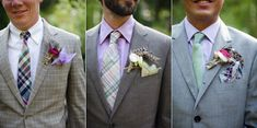 Plaid suits for groom (far left) -- also note feathers in boutonniere.
