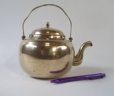 Brass Tea Pot Vintage Small Traditional 1 Quart / by HobbitHouse