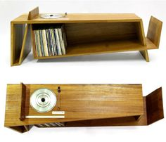 The Folded Record Bureau:  Turntable, Record Shelf, & Magazine Shelf In One. This is kind of amazing.