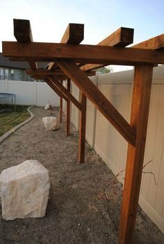 The pergola kits are the easiest and quickest way to build a garden pergola. There are lots of do it yourself pergola kits available to you so that anyone could easily put them together to construct a new structure at their backyard. Diy Pergola, Pergola Canopy, Cheap Pergola, Wooden Pergola, Outdoor Pergola, Pergola Shade, Backyard Patio, Backyard Landscaping, Pergola Ideas