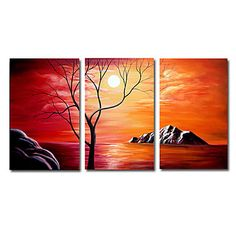 Winter Tree with Sunset Abstract Oil Painting - Set of 3 - Free Shipping