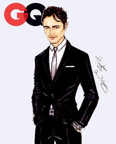 #Hayden Williams fashion Illustrations #The GQ collection by Hayden Williams: James Franco