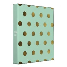 Mint Glam Faux Gold Polka Dot Custom 3 Ring Binder · Gold Office AccessoriesGold  ...