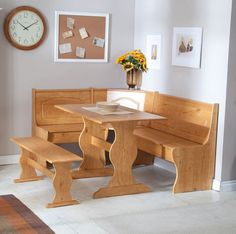 Corner Dining Set Kitchen Table Bench Seat Storage Nook Space Saver Room Seating #Linon #TraditionalCountry
