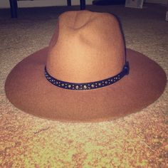 Free People Floppy Hat Free People floppy hat with studding on faux leather brim. Reddish tan color. Free People Accessories Hats
