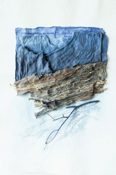 Blue Canyon by Inga Hunter - Cast hand-made paper image, embroidery, twigs, paint. In my work it is difficult to distinguish between real sticks and paper, or even handspun thread.