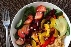 Roasted Roots Rainbow Salad With Quinoa