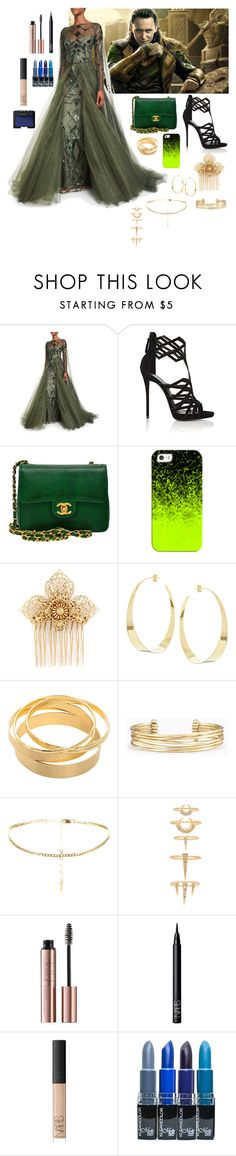 """Loki: Prom"" by band-and-marvel-geek105 ❤ liked on Polyvore featuring Monique Lhuillier, Giuseppe Zanotti, Chanel, Casetify, Miriam Haskell, Lana, Stella & Dot, Luv Aj and NARS Cosmetics"