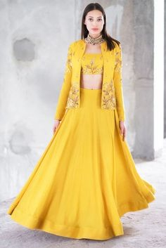 Shop Prathyusha Garimella Mustard satin cotton sequin & zari work lehenga with crop top & jacket , Exclusive Indian Designer Latest Collections Available at Aza Fashions Outfit Designer, Indian Designer Outfits, Designer Dresses, Indian Fashion Dresses, Indian Gowns Dresses, Dress Indian Style, Lehenga Choli Designs, Indian Wedding Outfits, Indian Outfits