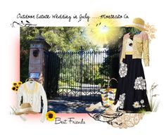 """""""Outdoor Wedding in July - Montecito Ca"""" by geoincalifornia ❤ liked on Polyvore featuring Orla Kiely, Chie Mihara, Floreat, Maaji, Timorous Beasties, Andres Gallardo, J.Crew and Anthropologie"""