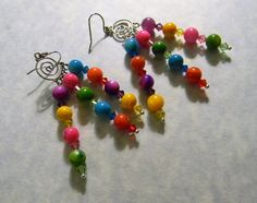 Day Glo Rainbow Brightly Colored Dyed Shell and Crystal Chandelier Earrings