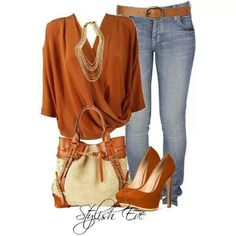 I like the wrap around shirt with the necklace.